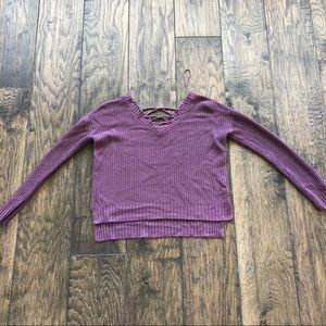 Sweaters - Purple Sweater with Crisscrossed Back